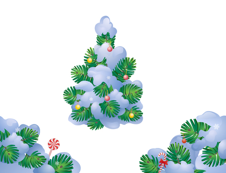 Vector illustration of snow covered and decorated Christmas tree and fir branches, isolated on a white background Illustration