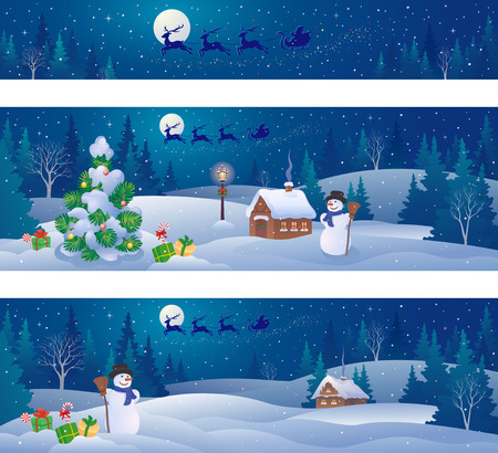 Vector illustration of Christmas night landscapes and Santa Claus sleigh flying over snowy woods and houses, panoramic banners Illustration