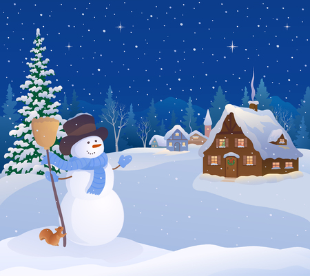 Vector illustration of a greeting snowman and a snowy christmas village
