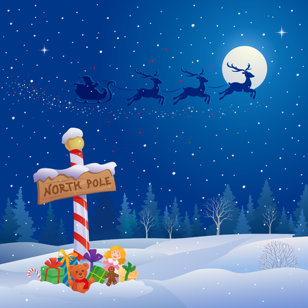 Vector illustration of Santa Claus sleigh