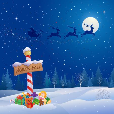 Vector illustratie van de slee van de Kerstman Vector Illustratie