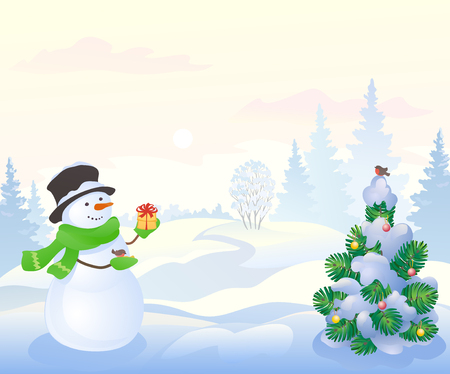 Vector illustration of a cute snowman with a gift and a winter morning landscape
