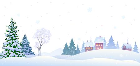 Vector illustration of a winter village landscape, horizontal background