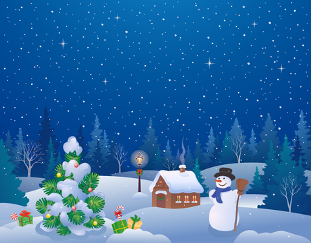 Vector cartoon drawing of a Christmas night landscape