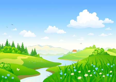 Vector cartoon drawing of a beautiful summer river and flower meadows