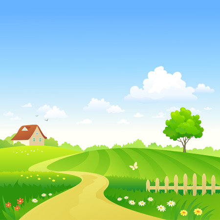Vector illustration of a beautiful summer landscape Stock Illustratie