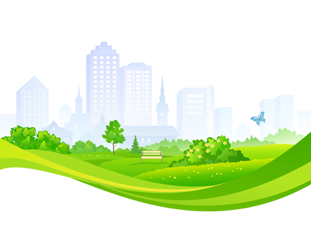 Vector design with a summer city, isolated on a white background Illustration