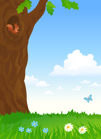 Vector illustration of a summer landscape with a squirrel inside a lake, vertical background Stock Illustratie