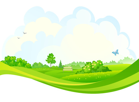 Vector design with a summer park, isolated on a white background Illustration