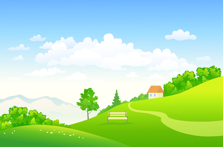 Vector illustration of a beautiful summer landscape Ilustração