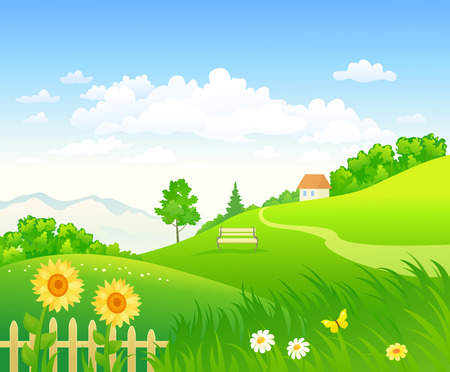 Vector cartoon drawing of a summer country day, green landscape background Ilustração