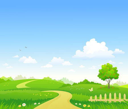 Vector illustration of a summer landscape background
