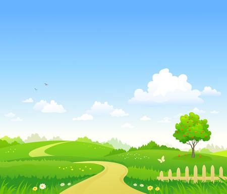 夏の風景背景のベクトルイラスト
