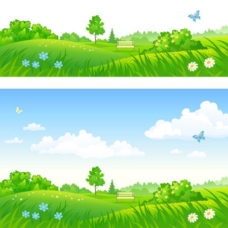 Vector cartoon illustration of summer park backgrounds