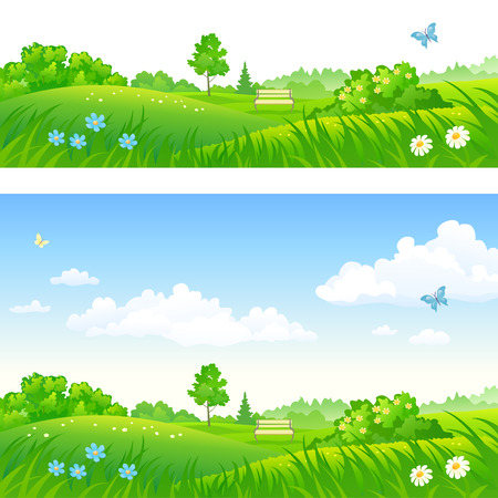 Vector cartoon illustration of summer park backgrounds