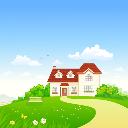 Vector cartoon illustration of a summer house and garden