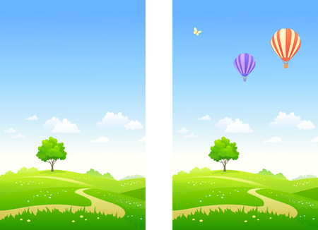 Vector illustration of a summer landscape and flying hot air balloons, vertical banners