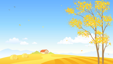 Vector cartoon illustration of an autumn background