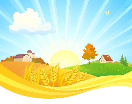 Vector cartoon drawing of an autumn sunrise landscape Stock Illustratie