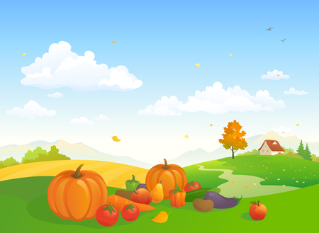 Vector cartoon illustration of an autumn harvest scene at a farm