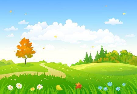 Vector cartoon drawing of a colorful autumn forest Stock Illustratie