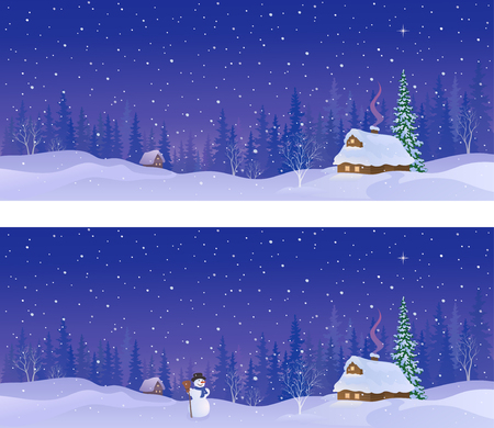 Vector cartoon illustration of a snow covered village in a forest, panoramic banners
