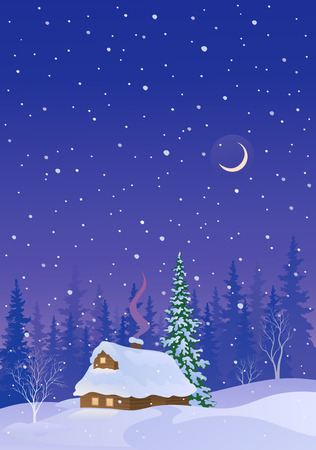 Vector illustration of a snow covered log cabin, snowy night vertical background