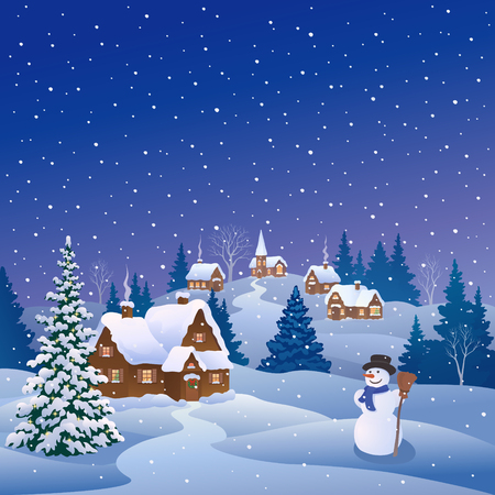 Vector cartoon drawing of a snowy christmas tree and a cute snowman