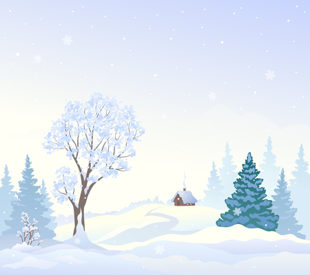 Vector cartoon drawing of a snowy landscape with a small house