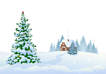 Vector illustration of winter woods and a small house, isolated on a white background