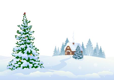 Ilustración de vector de bosque de invierno y una pequeña casa, aislada sobre fondo blanco Ilustración de vector
