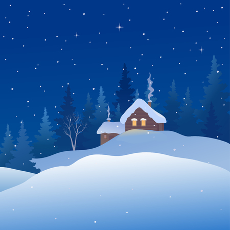 Vector cartoon drawing of a Christmas snowy landscape, square background Ilustração