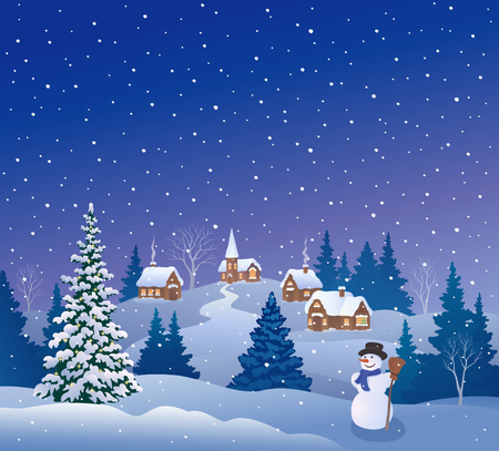 Vector cartoon drawing of a christmas village and snowman