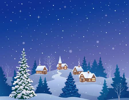 Vector cartoon illustration of a snowy winter village
