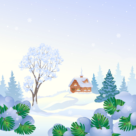 Vector snowy house and snow covered trees