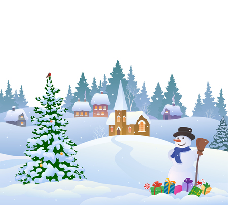 Christmas village and snowman with gifts Stock Illustratie