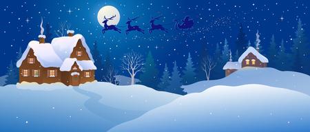 Schneebedecktes Weihnachtsnachtdorf
