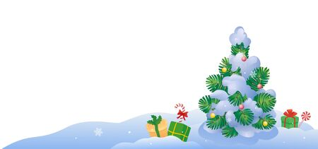 Vector illustration of a Christmas tree outdoors Stock Illustratie