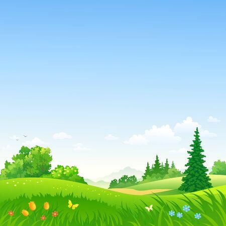 Illustrazione vettoriale di un bellissimo paesaggio primaverile