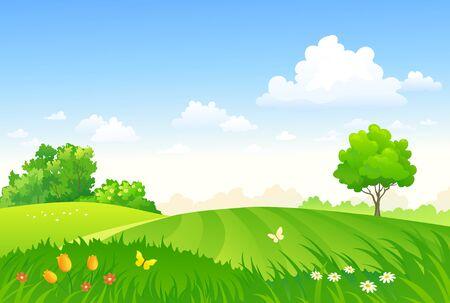 Dessin d'un pâturage de printemps vectoriel