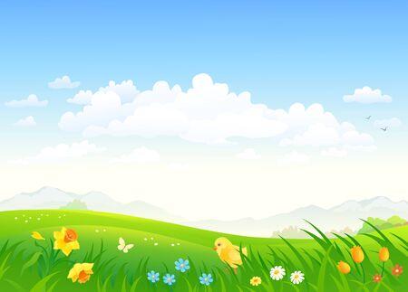 Disegno vettoriale di un paesaggio di campagna verde con un pollo e fiori primaverili