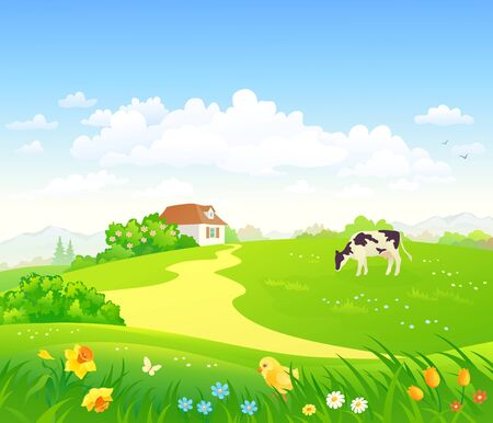 Vector drawing of a spring country scenery Stock Illustratie