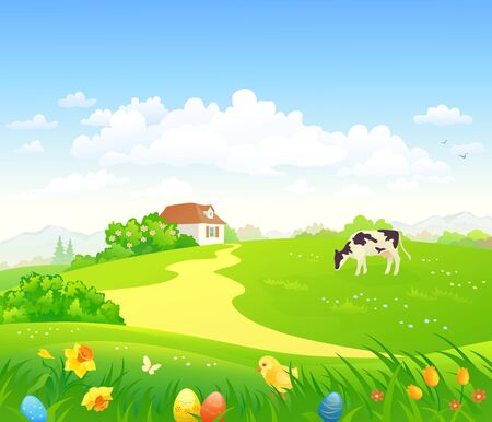 Vector drawing of an easter scenery Stock Illustratie
