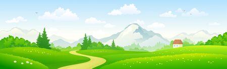 Paisaje panorámico del bosque de montaña