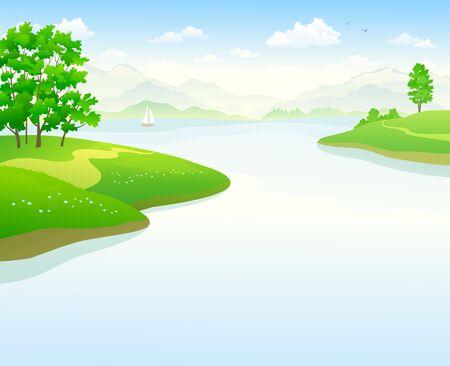 Vector cartoon illustration of a lake landscape