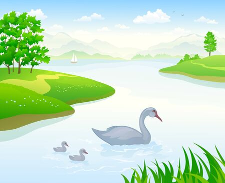 Vector illustration of a lake landscape with swans