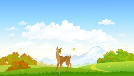 Autumn landscape with a cute deer, colorful trees and blue sky Векторная Иллюстрация