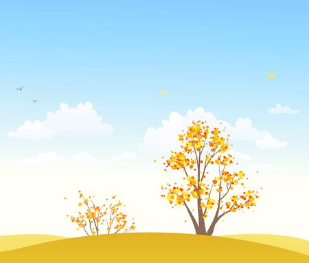 Vector abstract yellow trees and blue sky background Stock Illustratie
