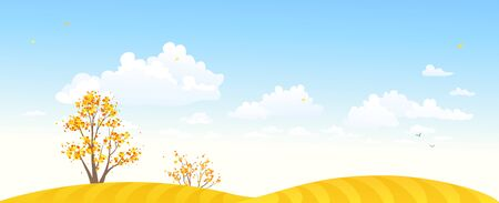 Vector illustration of autumn yellow fields, trees and blue sky