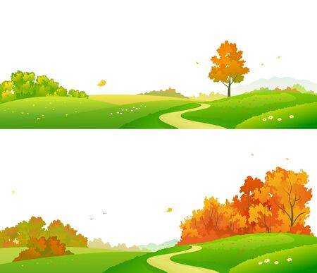 Vector illustration of colorful autumn landscape banners